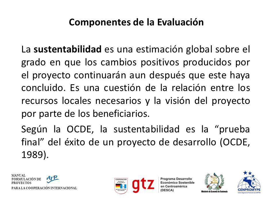MANUAL FORMULACIÓN DE PROYECTOS PARA LA COOPERACIÓN INTERNACIONAL Componentes de la Evaluación La sustentabilidad es una estimación global sobre el gr