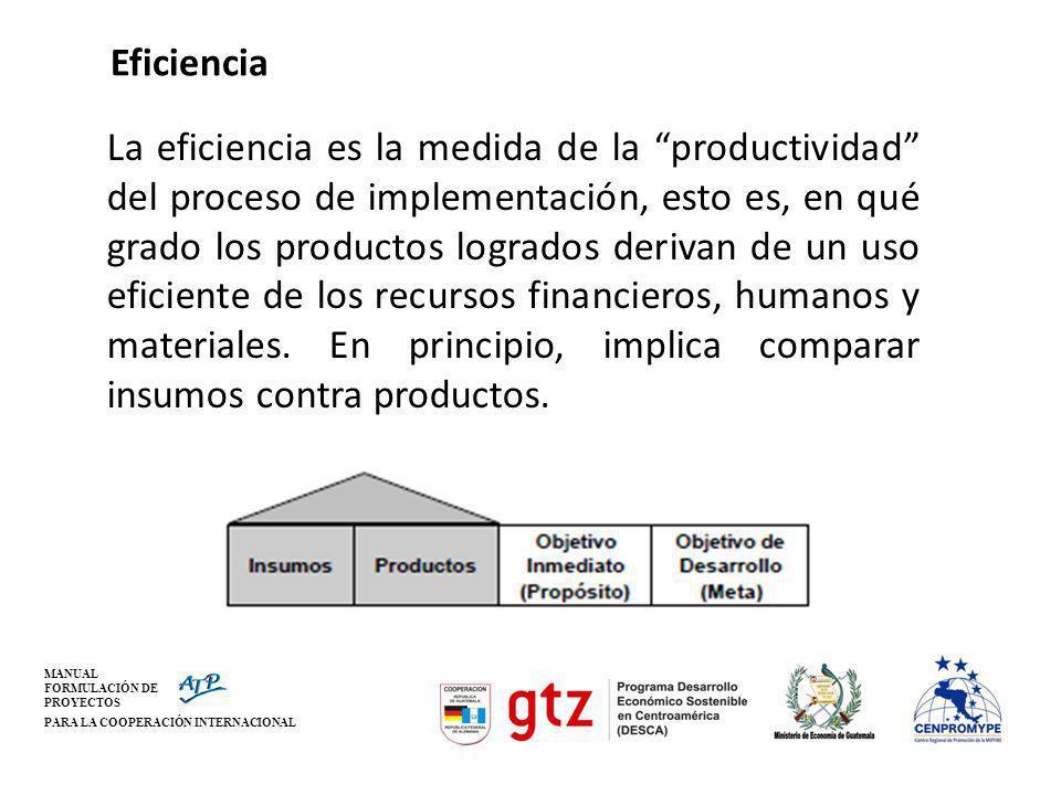 MANUAL FORMULACIÓN DE PROYECTOS PARA LA COOPERACIÓN INTERNACIONAL Eficiencia La eficiencia es la medida de la productividad del proceso de implementac