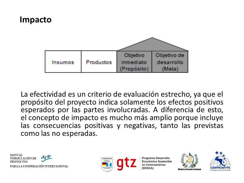 MANUAL FORMULACIÓN DE PROYECTOS PARA LA COOPERACIÓN INTERNACIONAL Impacto La efectividad es un criterio de evaluación estrecho, ya que el propósito de