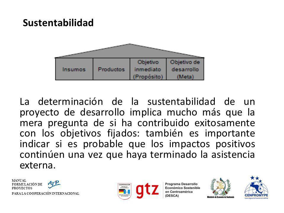 MANUAL FORMULACIÓN DE PROYECTOS PARA LA COOPERACIÓN INTERNACIONAL Sustentabilidad La determinación de la sustentabilidad de un proyecto de desarrollo