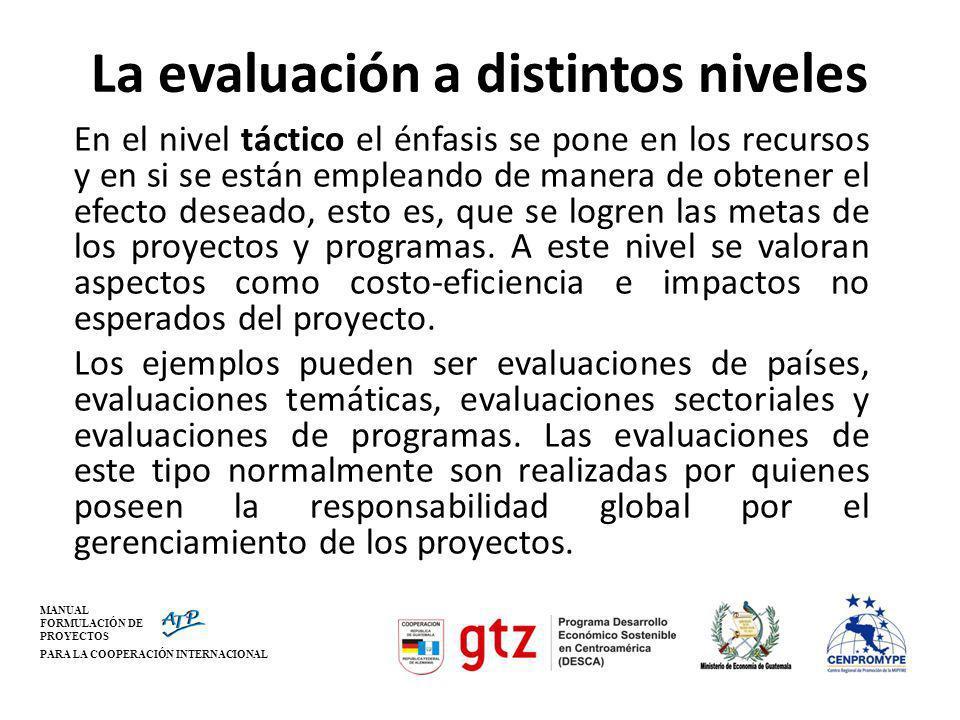 MANUAL FORMULACIÓN DE PROYECTOS PARA LA COOPERACIÓN INTERNACIONAL La evaluación a distintos niveles En el nivel táctico el énfasis se pone en los recu