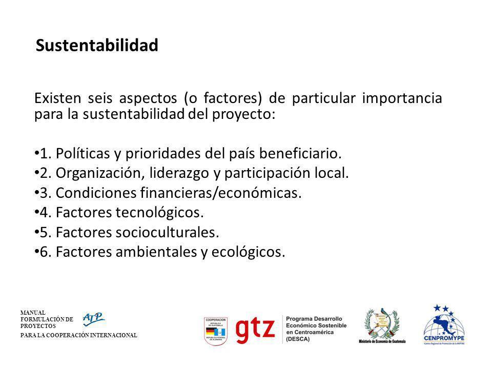 MANUAL FORMULACIÓN DE PROYECTOS PARA LA COOPERACIÓN INTERNACIONAL Sustentabilidad Existen seis aspectos (o factores) de particular importancia para la