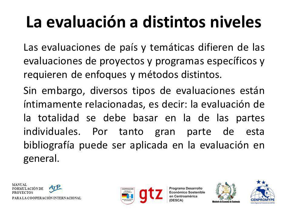 MANUAL FORMULACIÓN DE PROYECTOS PARA LA COOPERACIÓN INTERNACIONAL La evaluación a distintos niveles Las evaluaciones de país y temáticas difieren de l