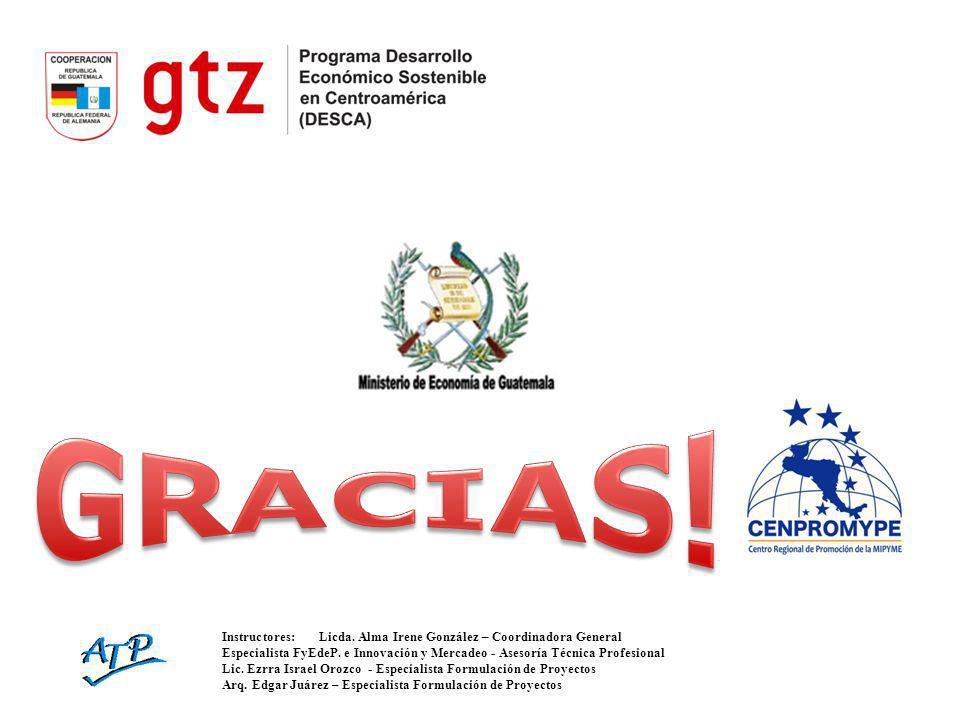 Instructores:Licda. Alma Irene González – Coordinadora General Especialista FyEdeP. e Innovación y Mercadeo - Asesoría Técnica Profesional Lic. Ezrra