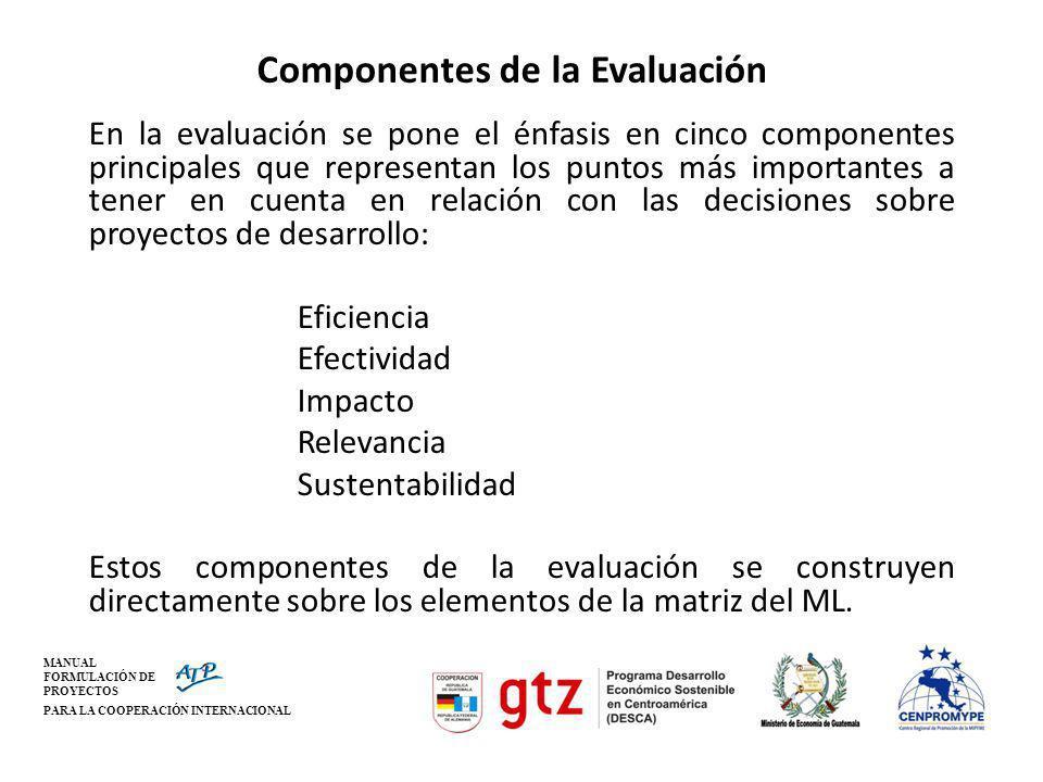 MANUAL FORMULACIÓN DE PROYECTOS PARA LA COOPERACIÓN INTERNACIONAL Componentes de la Evaluación En la evaluación se pone el énfasis en cinco componente