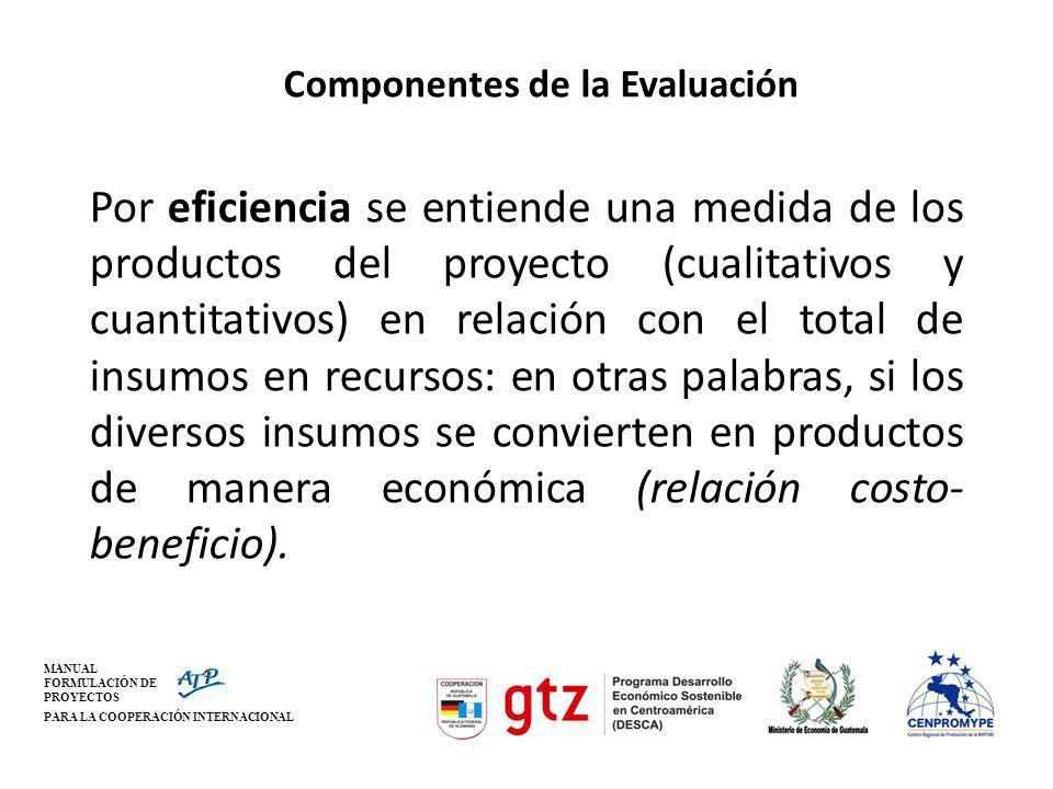 MANUAL FORMULACIÓN DE PROYECTOS PARA LA COOPERACIÓN INTERNACIONAL Componentes de la Evaluación Por eficiencia se entiende una medida de los productos