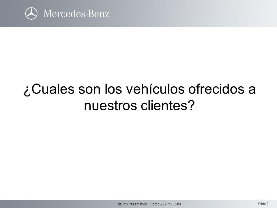 Slide 2 Titel of Presentation, CorpoS, (9Pt.), Date ¿Cuales son los vehículos ofrecidos a nuestros clientes?