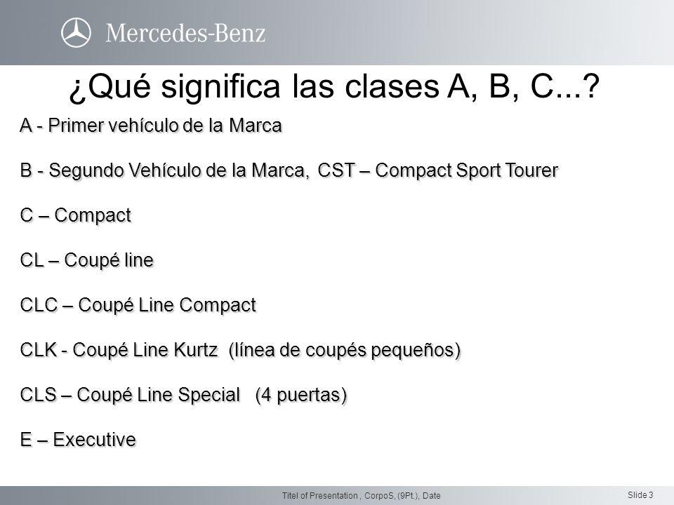 Slide 3 Titel of Presentation, CorpoS, (9Pt.), Date A - Primer vehículo de la Marca B - Segundo Vehículo de la Marca, CST – Compact Sport Tourer C – C