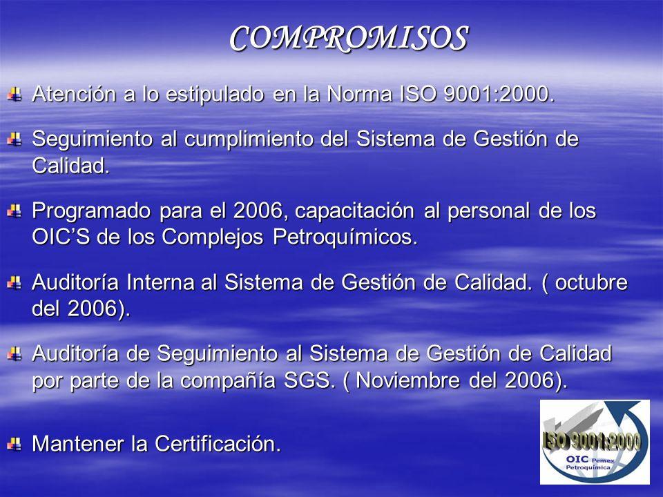 Atención a lo estipulado en la Norma ISO 9001:2000. Seguimiento al cumplimiento del Sistema de Gestión de Calidad. Programado para el 2006, capacitaci