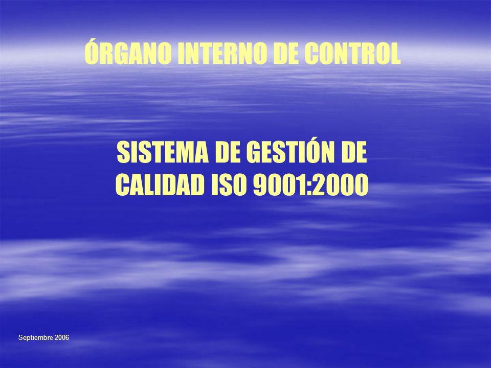 SISTEMA DE GESTIÓN DE CALIDAD ISO 9001:2000 ÓRGANO INTERNO DE CONTROL Septiembre 2006