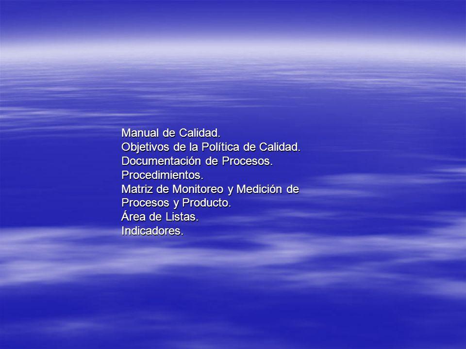 Manual de Calidad. Objetivos de la Política de Calidad. Documentación de Procesos. Procedimientos. Matriz de Monitoreo y Medición de Procesos y Produc