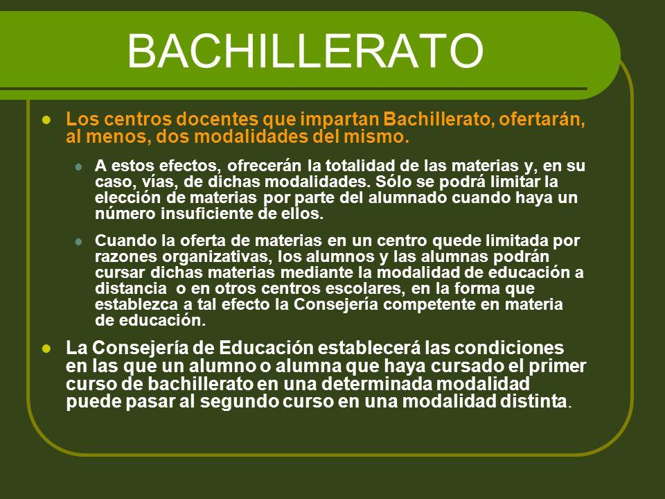 BACHILLERATO El Bachillerato se organizará en: materias comunes, materias de modalidad y materias optativas.