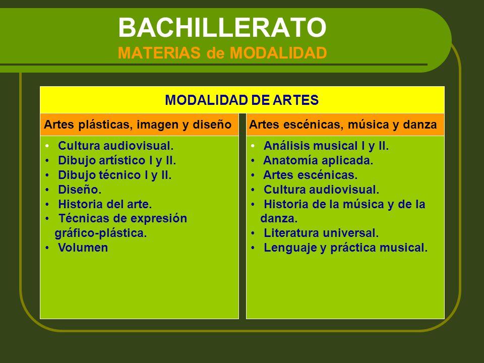BACHILLERATO MATERIAS de MODALIDAD MODALIDAD DE CIENCIAS Y TECNOLOGIA modalidad de Ciencias y Tecnología son las siguientes: Biología.