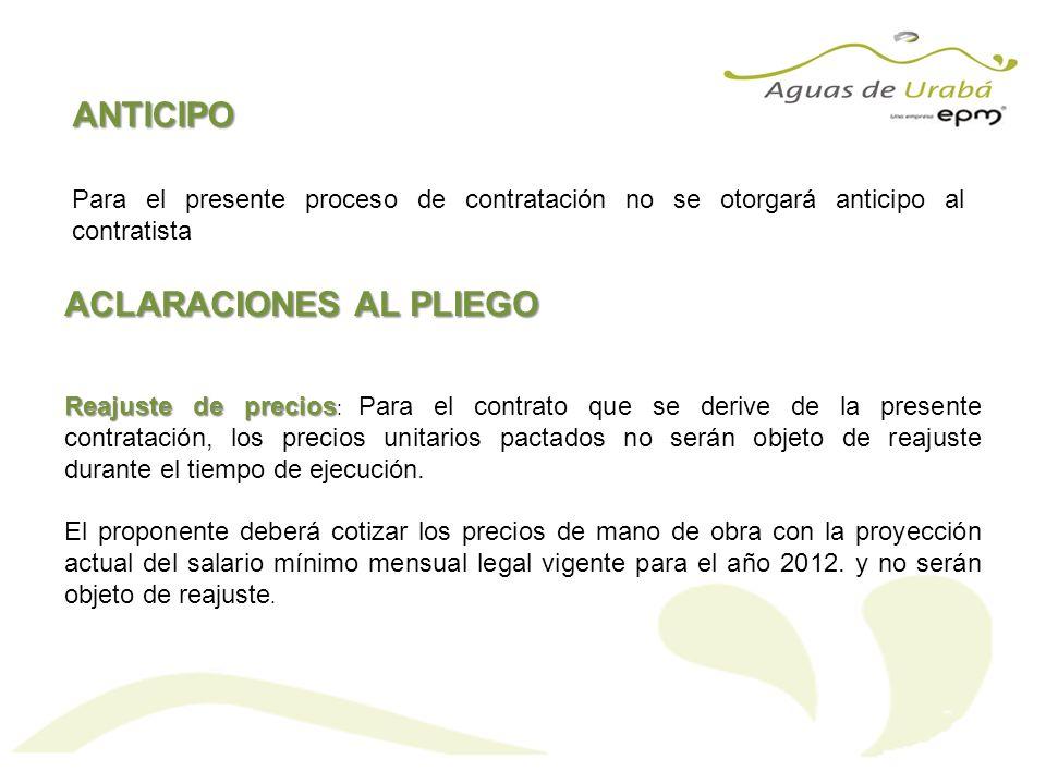 ANTICIPO Para el presente proceso de contratación no se otorgará anticipo al contratista ACLARACIONES AL PLIEGO Reajuste de precios Reajuste de precio
