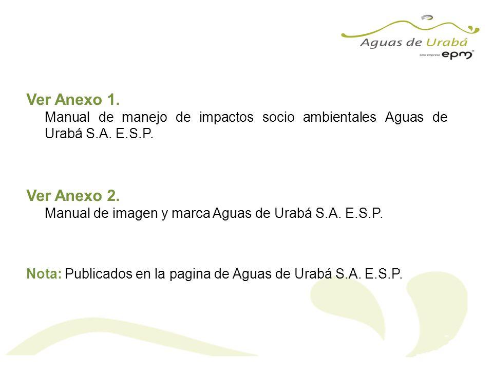 Ver Anexo 1. Manual de manejo de impactos socio ambientales Aguas de Urabá S.A. E.S.P. Ver Anexo 2. Manual de imagen y marca Aguas de Urabá S.A. E.S.P