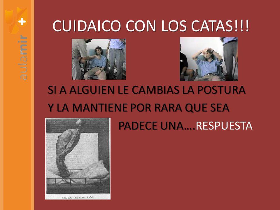 CUIDAICO CON LOS CATAS!!! SI A ALGUIEN LE CAMBIAS LA POSTURA Y LA MANTIENE POR RARA QUE SEA PADECE UNA…. PADECE UNA….RESPUESTA