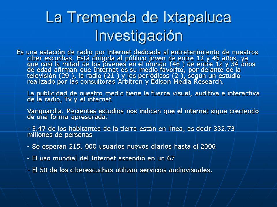 La Tremenda de Ixtapaluca Investigación Es una estación de radio por internet dedicada al entretenimiento de nuestros ciber escuchas. Está dirigida al