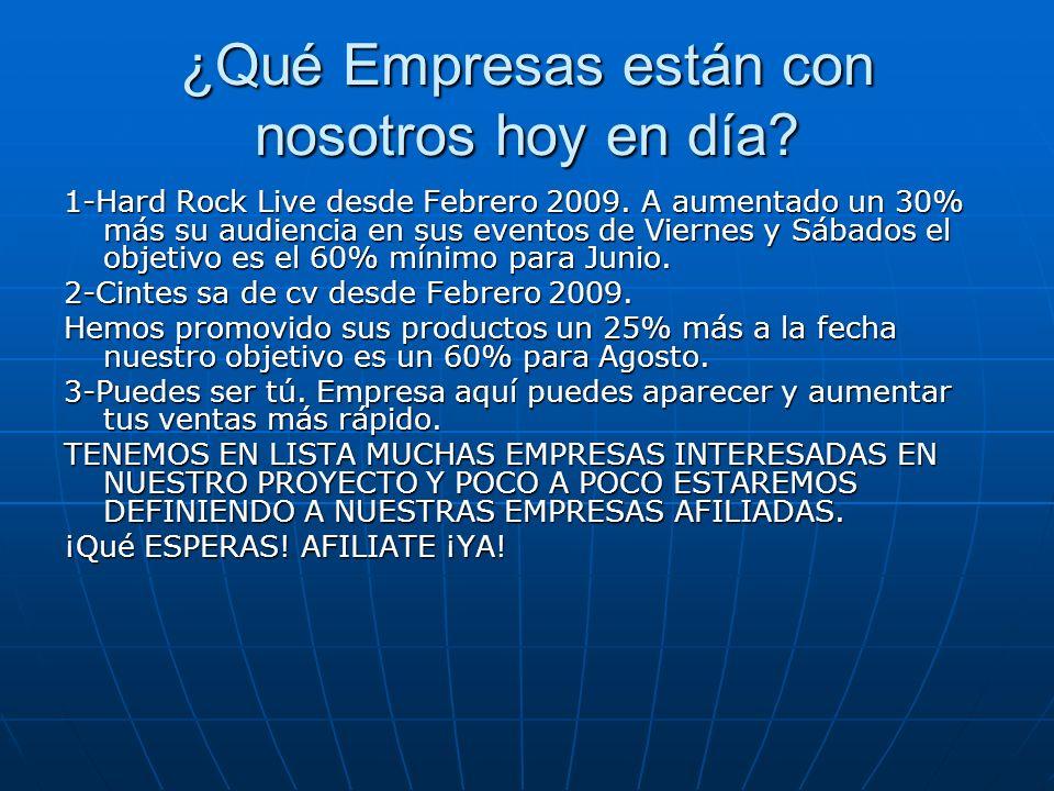 ¿Qué Empresas están con nosotros hoy en día? 1-Hard Rock Live desde Febrero 2009. A aumentado un 30% más su audiencia en sus eventos de Viernes y Sába