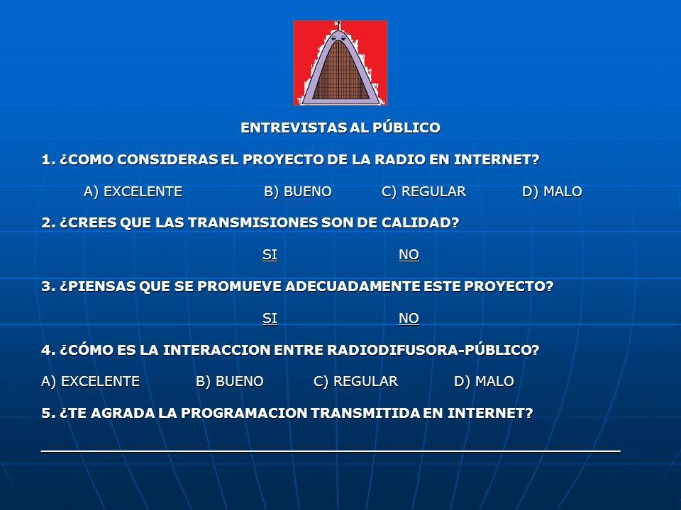 ENTREVISTAS AL PÚBLICO 1. ¿COMO CONSIDERAS EL PROYECTO DE LA RADIO EN INTERNET? A) EXCELENTE B) BUENO C) REGULAR D) MALO A) EXCELENTE B) BUENO C) REGU