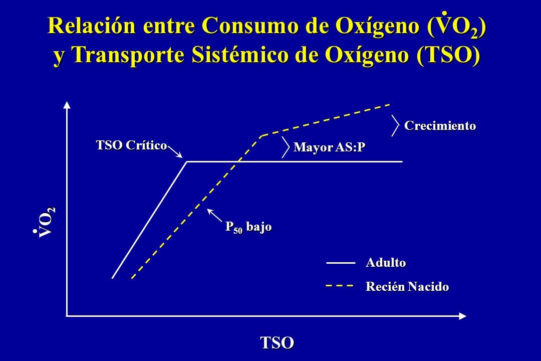 TSO Crítico P 50 bajo Mayor AS:P Crecimiento TSO Adulto Recién Nacido VO 2 Relación entre Consumo de Oxígeno (VO 2 ) y Transporte Sistémico de Oxígeno