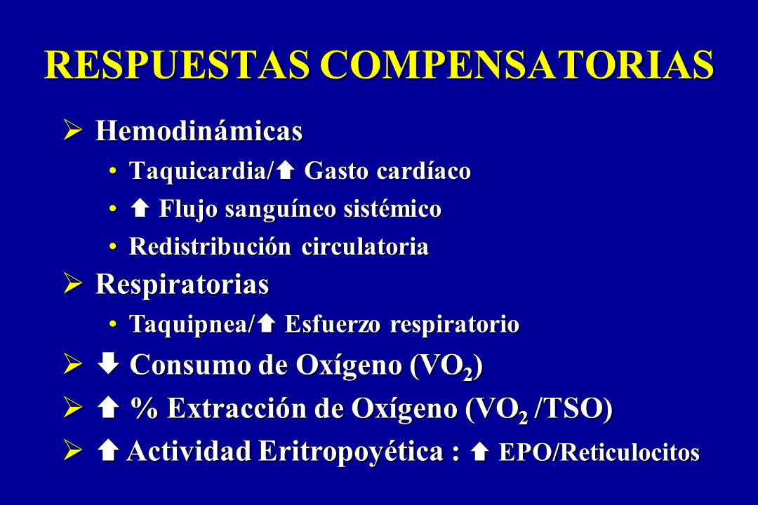 RESPUESTAS COMPENSATORIAS Hemodinámicas Hemodinámicas Taquicardia/ Gasto cardíacoTaquicardia/ Gasto cardíaco Flujo sanguíneo sistémico Flujo sanguíneo
