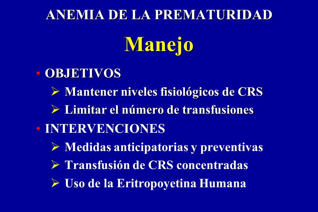 ANEMIA DE LA PREMATURIDAD Manejo OBJETIVOSOBJETIVOS Mantener niveles fisiológicos de CRS Mantener niveles fisiológicos de CRS Limitar el número de tra