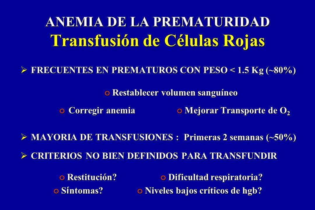 FRECUENTES EN PREMATUROS CON PESO < 1.5 Kg (~80%) FRECUENTES EN PREMATUROS CON PESO < 1.5 Kg (~80%) Restablecer volumen sanguíneo Restablecer volumen
