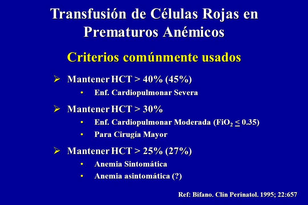 Transfusión de Células Rojas en Prematuros Anémicos Criterios comúnmente usados Mantener HCT > 40% (45%) Mantener HCT > 40% (45%) Enf. Cardiopulmonar