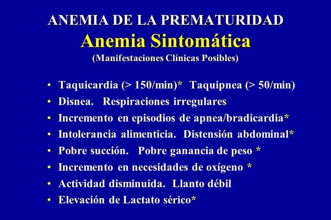 Taquicardia (> 150/min)* Taquipnea (> 50/min) Disnea. Respiraciones irregulares Incremento en episodios de apnea/bradicardia* Intolerancia alimenticia