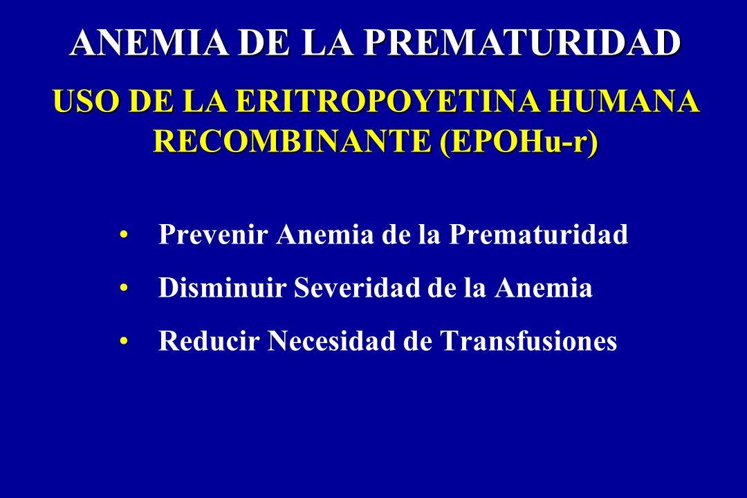 Prevenir Anemia de la Prematuridad Disminuir Severidad de la Anemia Reducir Necesidad de Transfusiones ANEMIA DE LA PREMATURIDAD USO DE LA ERITROPOYET