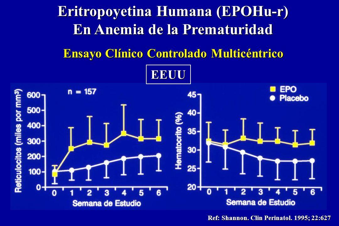 Eritropoyetina Humana (EPOHu-r) En Anemia de la Prematuridad Ensayo Clínico Controlado Multicéntrico Ref: Shannon. Clin Perinatol. 1995; 22:627 EEUU