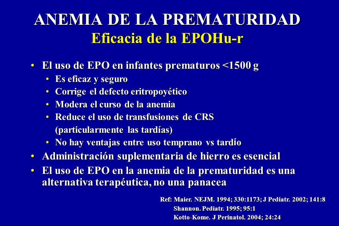 ANEMIA DE LA PREMATURIDAD Eficacia de la EPOHu-r El uso de EPO en infantes prematuros <1500 gEl uso de EPO en infantes prematuros <1500 g Es eficaz y