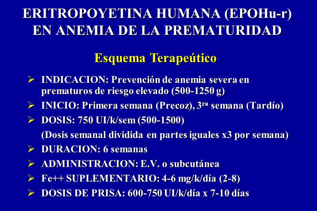 ERITROPOYETINA HUMANA (EPOHu-r) EN ANEMIA DE LA PREMATURIDAD INDICACION: Prevención de anemia severa en prematuros de riesgo elevado (500-1250 g) INDI