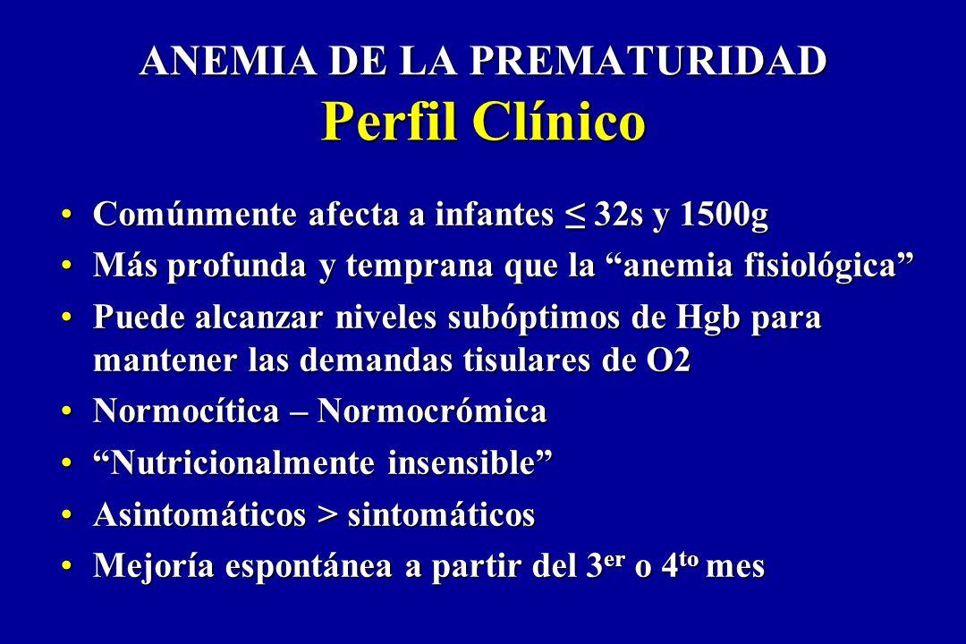 ANEMIA DE LA PREMATURIDAD Perfil Clínico Comúnmente afecta a infantes 32s y 1500gComúnmente afecta a infantes 32s y 1500g Más profunda y temprana que
