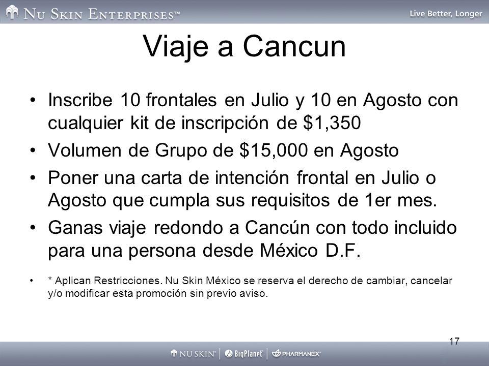 17 Viaje a Cancun Inscribe 10 frontales en Julio y 10 en Agosto con cualquier kit de inscripción de $1,350 Volumen de Grupo de $15,000 en Agosto Poner