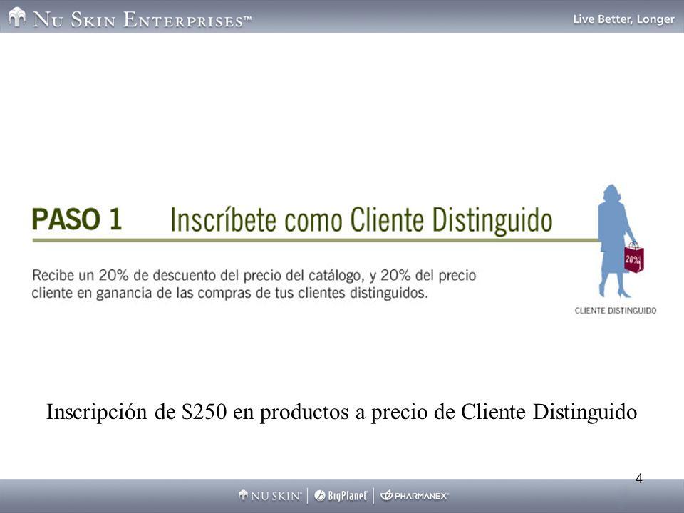 4 Inscripción de $250 en productos a precio de Cliente Distinguido