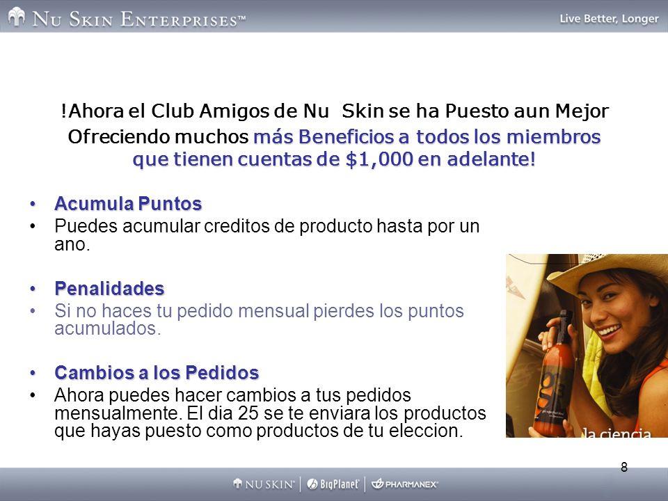 8 más Beneficios a todos los miembros que tienen cuentas de $1,000 en adelante! !Ahora el Club Amigos de Nu Skin se ha Puesto aun Mejor Ofreciendo muc