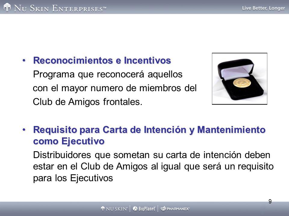 9 Reconocimientos e IncentivosReconocimientos e Incentivos Programa que reconocerá aquellos con el mayor numero de miembros del Club de Amigos frontal