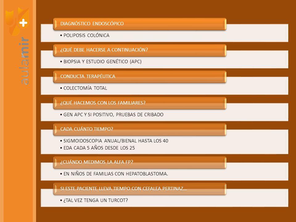 POLIPOSIS COLÓNICA DIAGNÓSTICO ENDOSCÓPICO BIOPSIA Y ESTUDIO GENÉTICO (APC) ¿QUÉ DEBE HACERSE A CONTINUACIÓN? COLECTOMÍA TOTAL CONDUCTA TERAPÉUTICA GE