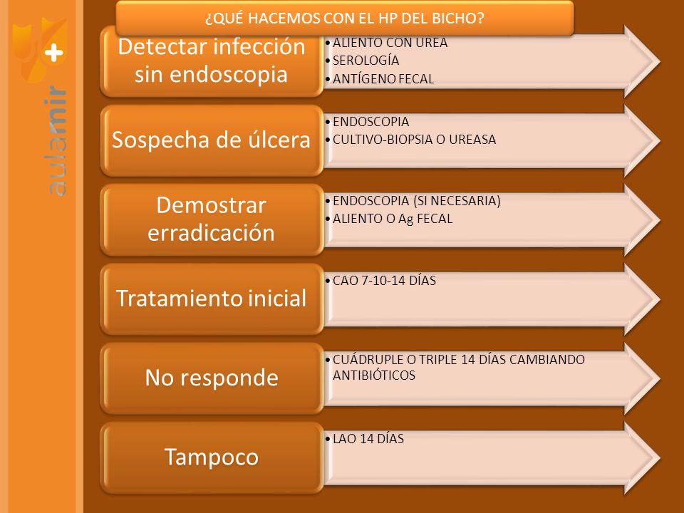 ALIENTO CON UREA SEROLOGÍA ANTÍGENO FECAL Detectar infección sin endoscopia ENDOSCOPIA CULTIVO-BIOPSIA O UREASA Sospecha de úlcera ENDOSCOPIA (SI NECE