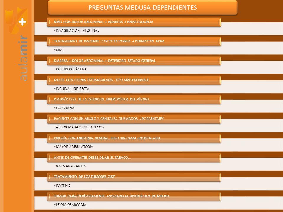 PREGUNTAS MEDUSA-DEPENDIENTES INVAGINACIÓN INTESTINAL NIÑO CON DOLOR ABDOMINAL + VÓMITOS + HEMATOQUECIA CINC TRATAMIENTO DE PACIENTE CON ESTEATORREA +