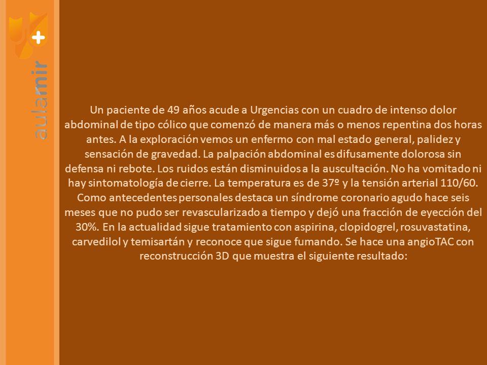PREGUNTAS MEDUSA-DEPENDIENTES INVAGINACIÓN INTESTINAL NIÑO CON DOLOR ABDOMINAL + VÓMITOS + HEMATOQUECIA CINC TRATAMIENTO DE PACIENTE CON ESTEATORREA + DERMATITIS ACRA COLITIS COLÁGENA DIARREA + DOLOR ABDOMINAL + DETERIORO ESTADO GENERAL INGUINAL INDIRECTA MUJER CON HERNIA ESTRANGULADA.
