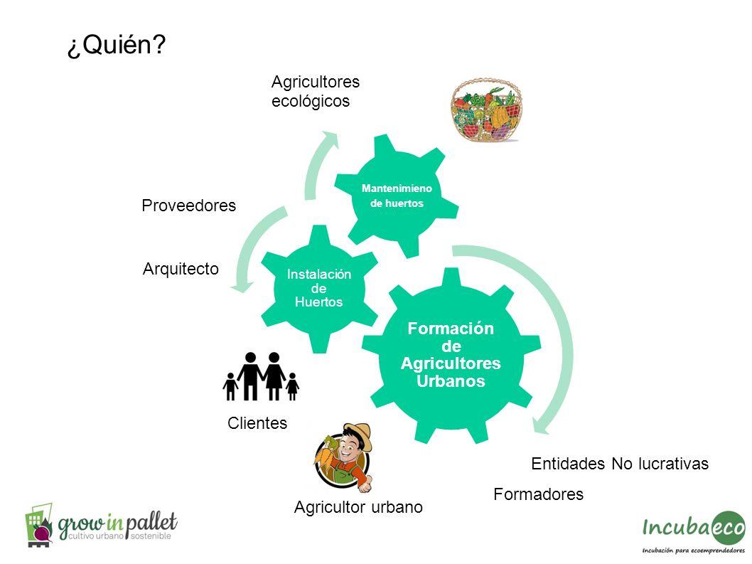 Formación de Agricultores Urbanos Instalación de Huertos Mantenimieno de huertos ¿Quién? Agricultor urbano Proveedores Agricultores ecológicos Cliente