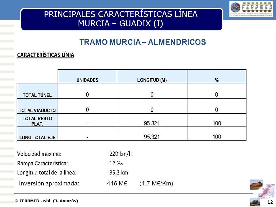 © FERRMED asbl (J. Amorós) 12 PRINCIPALES CARACTERÍSTICAS LÍNEA MURCIA – GUADIX (I) TRAMO MURCIA – ALMENDRICOS Inversión aproximada: 446 M (4,7 M/Km)
