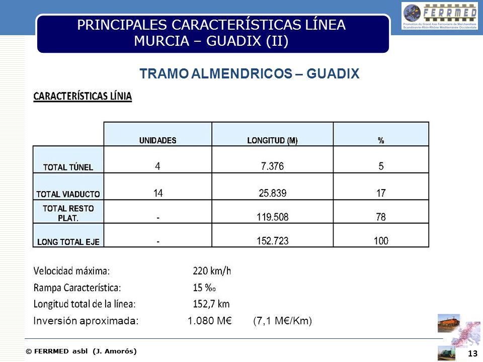 © FERRMED asbl (J. Amorós) 13 PRINCIPALES CARACTERÍSTICAS LÍNEA MURCIA – GUADIX (II) TRAMO ALMENDRICOS – GUADIX Inversión aproximada: 1.080 M (7,1 M/K