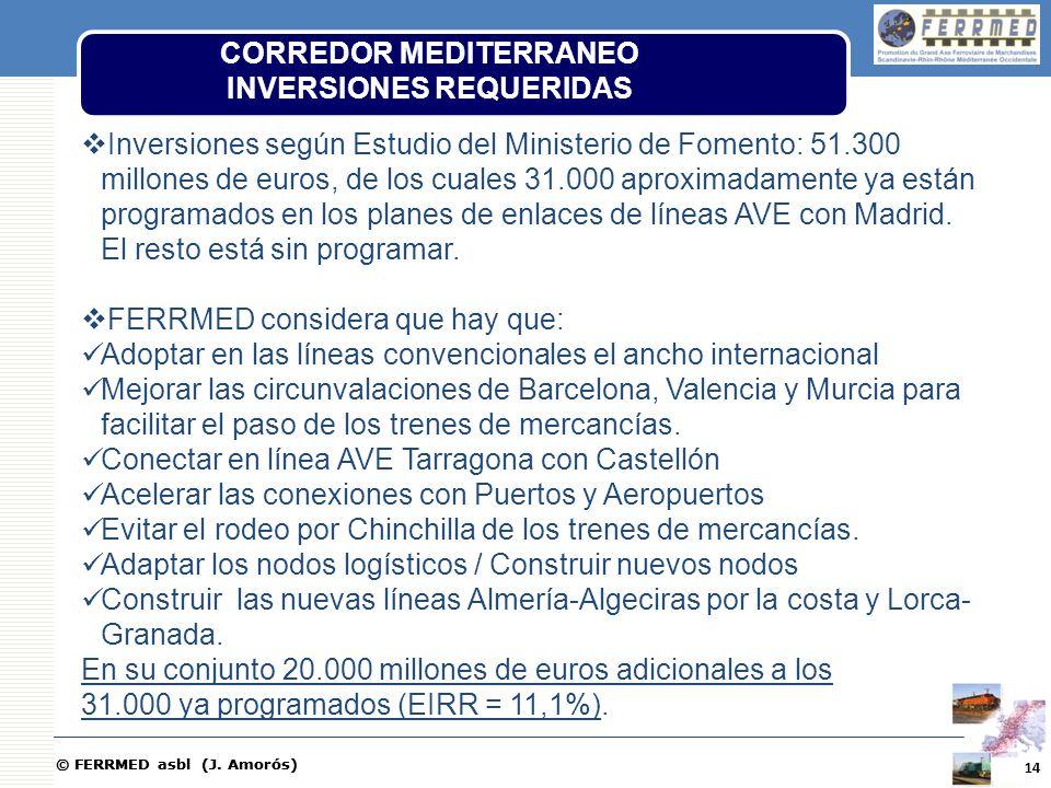 © FERRMED asbl (J. Amorós) Inversiones según Estudio del Ministerio de Fomento: 51.300 millones de euros, de los cuales 31.000 aproximadamente ya está