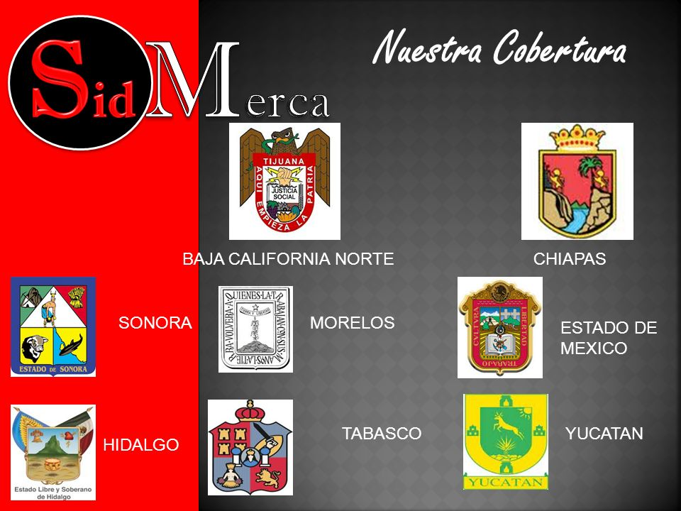 Nuestra Cobertura CHIAPAS TABASCOYUCATAN BAJA CALIFORNIA NORTE SONORAMORELOS HIDALGO ESTADO DE MEXICO