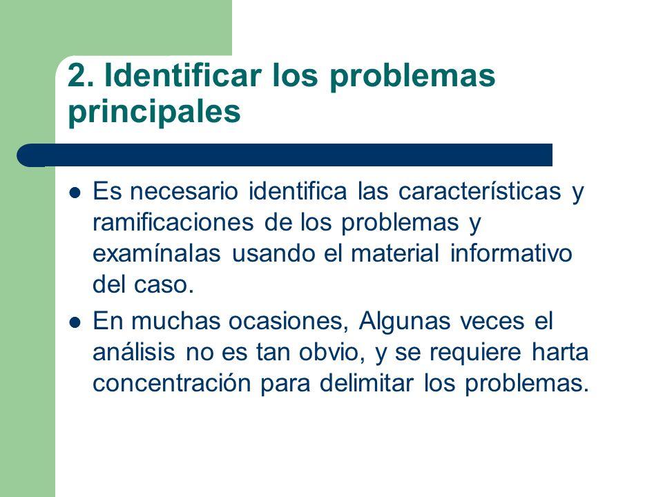2. Identificar los problemas principales Es necesario identifica las características y ramificaciones de los problemas y examínalas usando el material