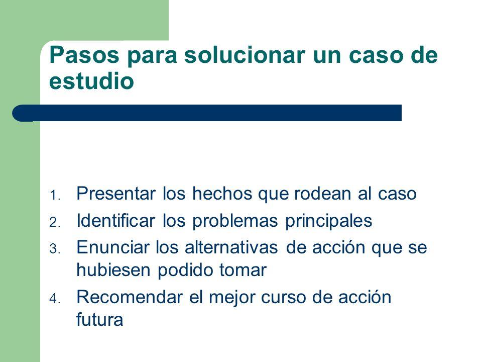Pasos para solucionar un caso de estudio 1. Presentar los hechos que rodean al caso 2. Identificar los problemas principales 3. Enunciar los alternati