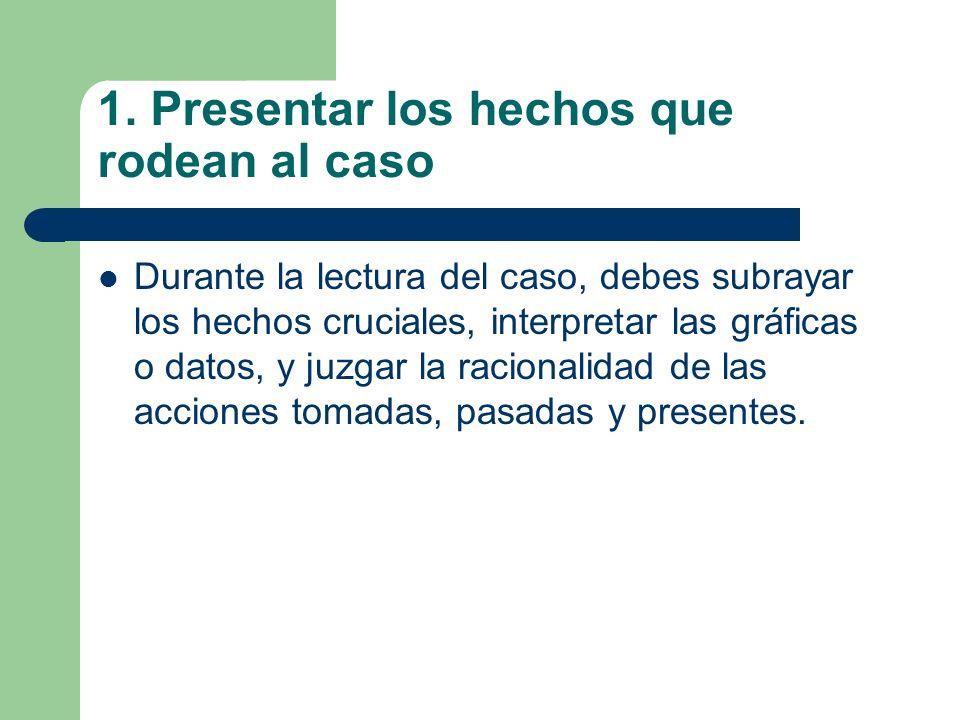1. Presentar los hechos que rodean al caso Durante la lectura del caso, debes subrayar los hechos cruciales, interpretar las gráficas o datos, y juzga